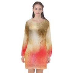 Abstract Space Watercolor Long Sleeve Chiffon Shift Dress