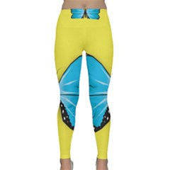 Butterfly Blue Insect Classic Yoga Leggings by Alisyart