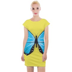 Butterfly Blue Insect Cap Sleeve Bodycon Dress