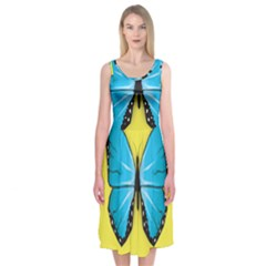 Butterfly Blue Insect Midi Sleeveless Dress