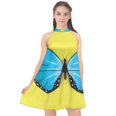 Butterfly Blue Insect Halter Neckline Chiffon Dress