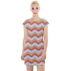 Chevron Pattern Cap Sleeve Bodycon Dress by Alisyart