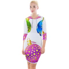 Christmas Ornaments Ball Quarter Sleeve Hood Bodycon Dress
