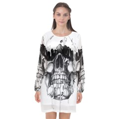 Black Skull Long Sleeve Chiffon Shift Dress