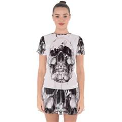 Black Skull Drop Hem Mini Chiffon Dress by Alisyart