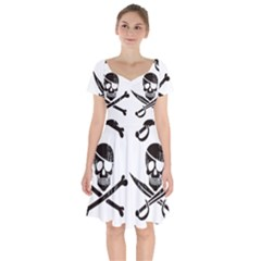Bone Skull Short Sleeve Bardot Dress by Alisyart