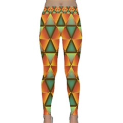 Background Triangle Abstract Golden Classic Yoga Leggings by Alisyart
