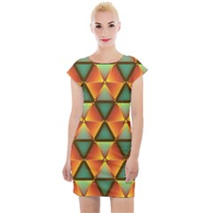 Background Triangle Abstract Golden Cap Sleeve Bodycon Dress