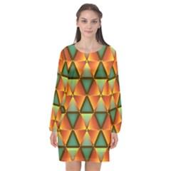 Background Triangle Abstract Golden Long Sleeve Chiffon Shift Dress  by Alisyart