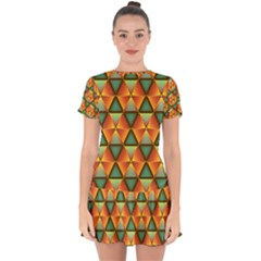 Background Triangle Abstract Golden Drop Hem Mini Chiffon Dress by Alisyart