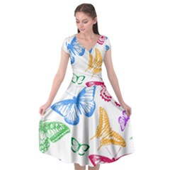 Butterfly Rainbow Cap Sleeve Wrap Front Dress