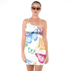 Butterfly Rainbow One Soulder Bodycon Dress by Alisyart