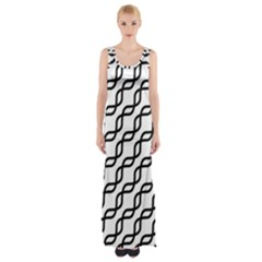 Diagonal Stripe Pattern Maxi Thigh Split Dress