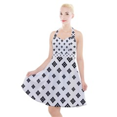 Concentric Halftone Wallpaper Halter Party Swing Dress  by Alisyart