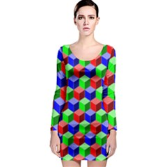 Colorful Prismatic Rainbow Long Sleeve Bodycon Dress