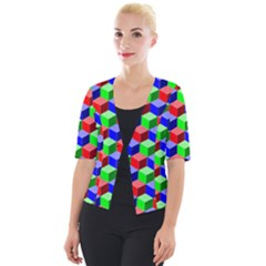 Colorful Prismatic Rainbow Cropped Button Cardigan by Alisyart