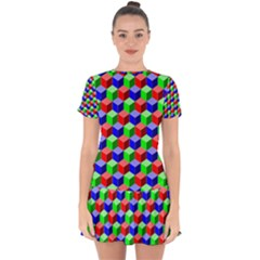 Colorful Prismatic Rainbow Drop Hem Mini Chiffon Dress