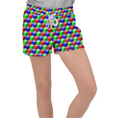 Colorful Prismatic Rainbow Women s Velour Lounge Shorts