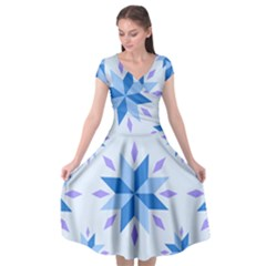 Dutch Star Snowflake Holland Cap Sleeve Wrap Front Dress