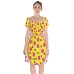 Pizza Table Pepperoni Sausage Short Sleeve Bardot Dress