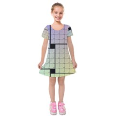 Construction Rectangle Steel Metal Kids  Short Sleeve Velvet Dress