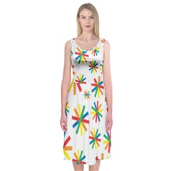 Celebrate Pattern Colorful Design Midi Sleeveless Dress