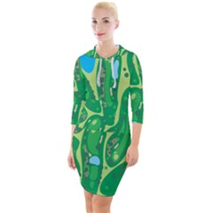 Golf Course Par Golf Course Green Quarter Sleeve Hood Bodycon Dress by Pakrebo