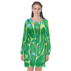 Golf Course Par Golf Course Green Long Sleeve Chiffon Shift Dress