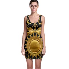 Golden Sun Gold Decoration Wall Bodycon Dress