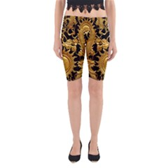 Golden Sun Gold Decoration Wall Yoga Cropped Leggings by Pakrebo