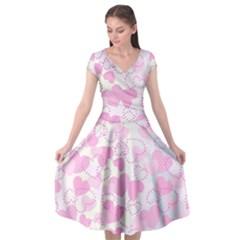 Valentine Background Hearts Bokeh Cap Sleeve Wrap Front Dress