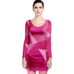 Pattern Halftone Geometric Long Sleeve Bodycon Dress
