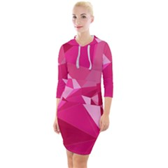 Pattern Halftone Geometric Quarter Sleeve Hood Bodycon Dress by Pakrebo