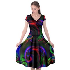 Swirl Background Design Colorful Cap Sleeve Wrap Front Dress