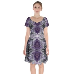 Pattern Abstract Horizontal Short Sleeve Bardot Dress