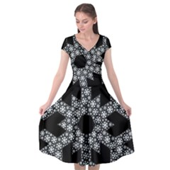 Snowflake Abstract Pattern Shape Cap Sleeve Wrap Front Dress by Pakrebo