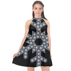 Snowflake Abstract Pattern Shape Halter Neckline Chiffon Dress  by Pakrebo
