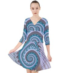 Spiral Fractal Swirl Whirlpool Quarter Sleeve Front Wrap Dress