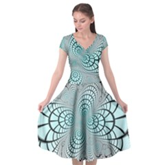 Digital Art Fractal Abstract Cap Sleeve Wrap Front Dress