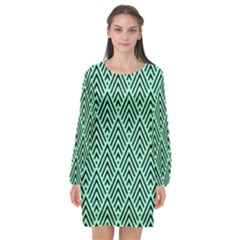 Chevron Pattern Black Mint Green Long Sleeve Chiffon Shift Dress