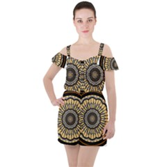 Mandala Pattern Round Ethnic Ruffle Cut Out Chiffon Playsuit by Pakrebo
