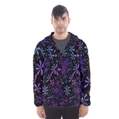 Retro Flower Pattern Design Batik Hooded Windbreaker (men) by Pakrebo