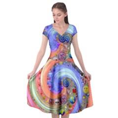 Swirl Vortex Emoji Cyclone Motion Cap Sleeve Wrap Front Dress by Pakrebo