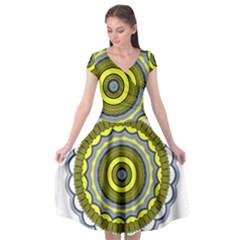 Mandala Pattern Round Ethnic Cap Sleeve Wrap Front Dress