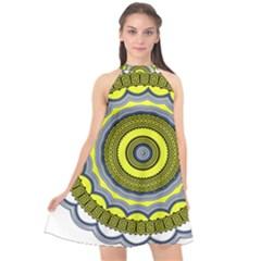 Mandala Pattern Round Ethnic Halter Neckline Chiffon Dress