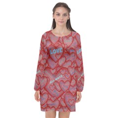 Love Hearts Valentine Red Symbol Long Sleeve Chiffon Shift Dress