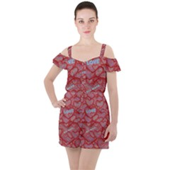 Love Hearts Valentine Red Symbol Ruffle Cut Out Chiffon Playsuit by Pakrebo
