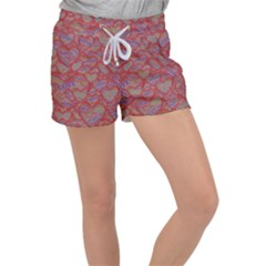 Love Hearts Valentines Connection Women s Velour Lounge Shorts by Pakrebo