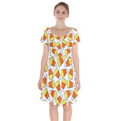 Candy Corn Halloween Candy Candies Short Sleeve Bardot Dress