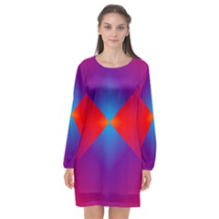 Geometric Blue Violet Red Gradient Long Sleeve Chiffon Shift Dress  by Alisyart